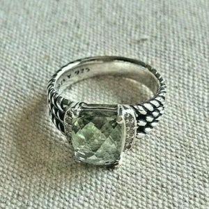 David Yurman Silver Prasiolite Ring Size 7